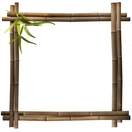 bamboo leaves: Bamboo frame brown square