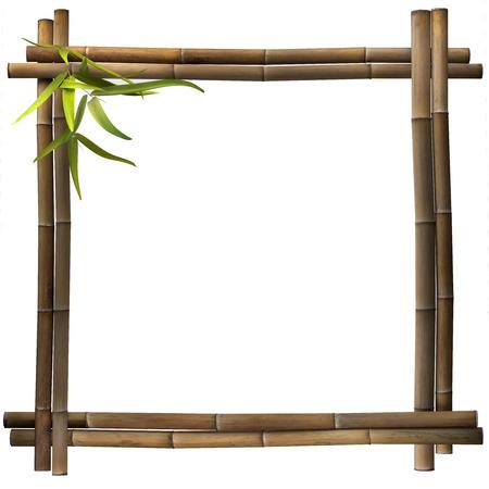 jungle green: Cuadrado marr�n Marco de bamb� Foto de archivo