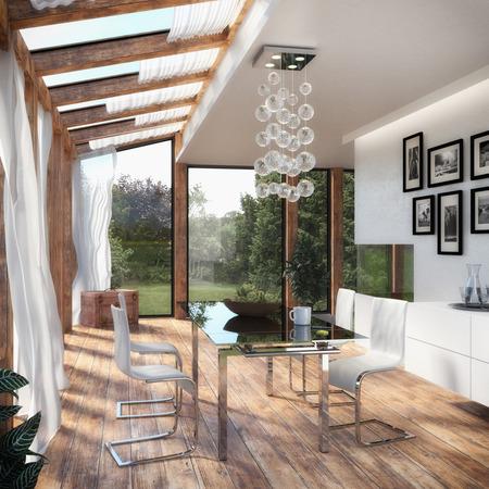 Modern Dining Room - Winter Garden Standard-Bild