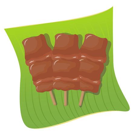broil: Grilled pork on banana leaf