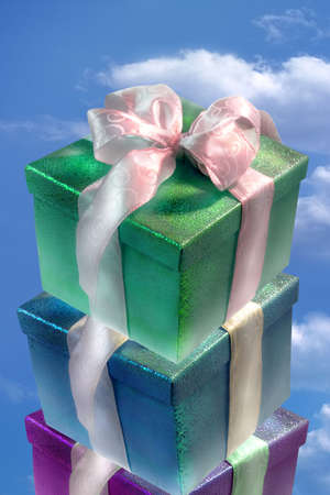 gift boxes close up in clear sky Stock Photo - 1974953