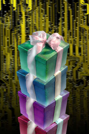gift boxes over circuit board Stock Photo - 1974955