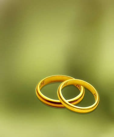 raytracing: wedding rings over green background