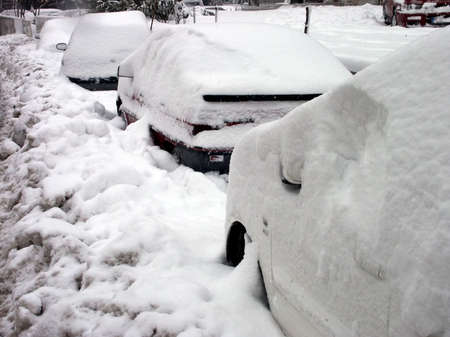 parked cars covered with snow during snowing in winter time photo