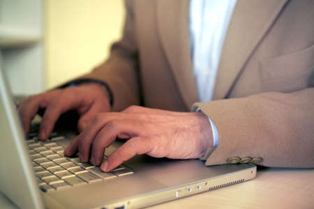 close up businessman typing on a laptop Stock Photo - 2412390