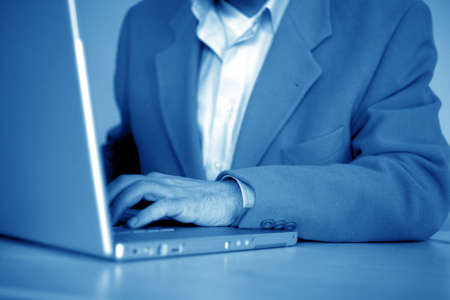 close up businessman typing on a laptop Stock Photo - 2412395