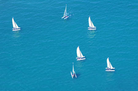 elevated view of sailing boats on sea photo