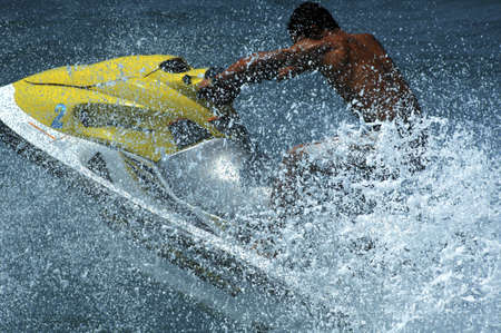 jetski: close up shot of  man with a jetski