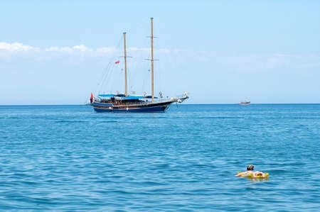 sailing boats on the Mediterranean sea Antalya, Turkey Stock Photo - 2495805