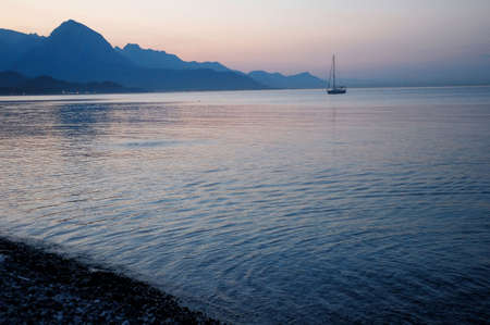 sailing boat on Mediterranean sae in morning time photo