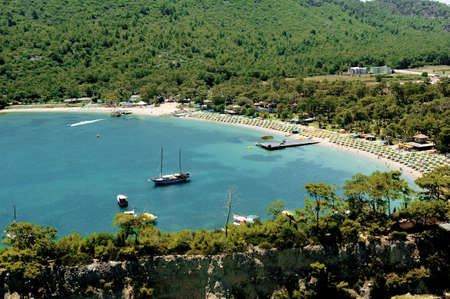 elevated view of boats and Mediterranean coast photo