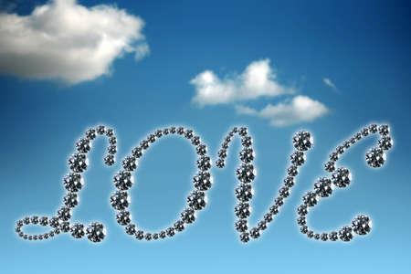 written love by using several diamonds  photo