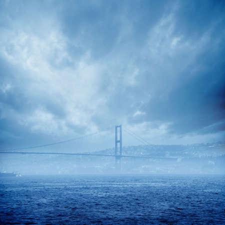 Bosphorus Bridge in foggy morning Istanbul Turkey Stock Photo