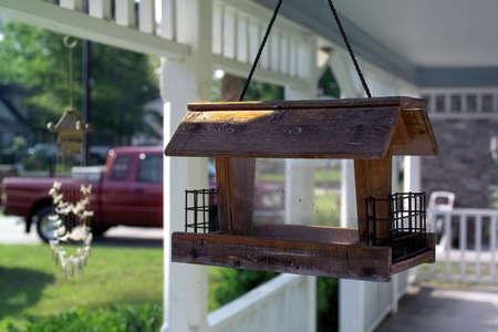 maison oiseau: tir de pr�s d'un oiseau dans la maison porche Banque d'images