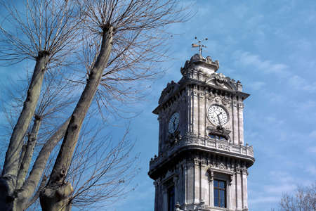 dolmabahce palace  clock tower in istanbul, Turkey Stock Photo - 3462359