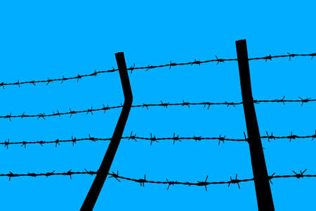 close up Barbed wire Fence and clear sky photo