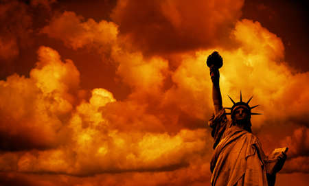 The Statue of Liberty by sunset in New York, USA Stock Photo - 3759907