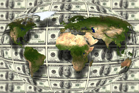 money cosmos: close up shot of world map on American dollar background