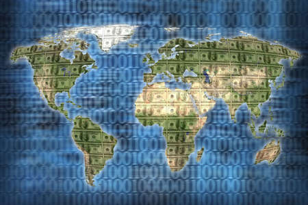 close up shot of world map on blue background photo