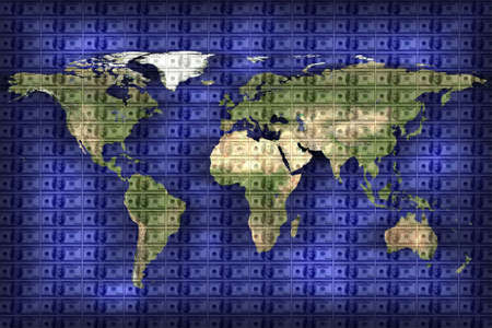 close up shot of world map on American dollar background Stock Photo - 3760069