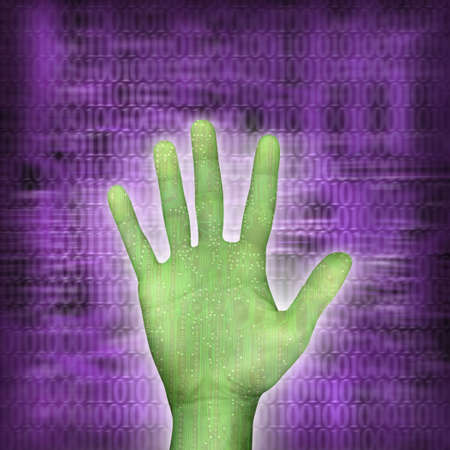 circuitboard hand over purple background with binarycode photo