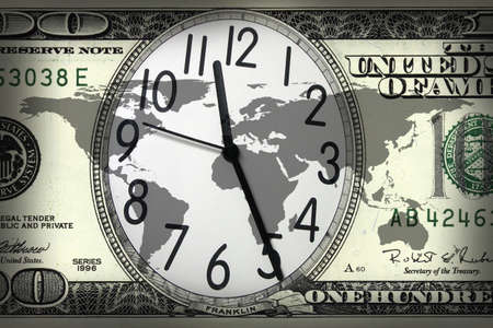 money cosmos: close up shot of a clock in  100 American dollar  Stock Photo