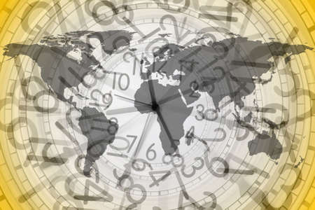 money cosmos: close up shot of world map in a clock