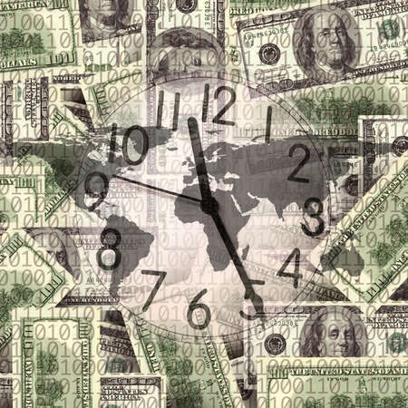 0 geography: close up shot of  clock and money
