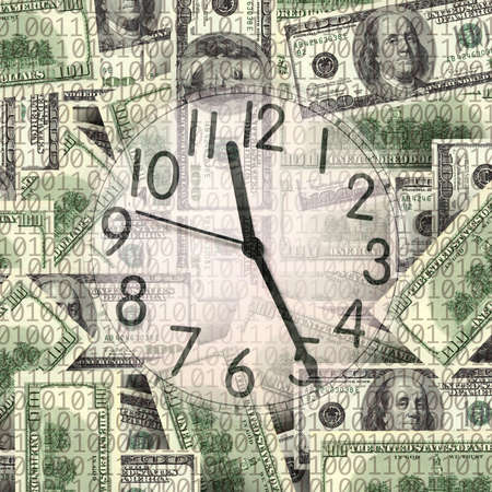 close up shot of  clock and money Stock Photo - 3809498