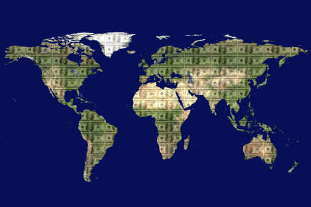money cosmos: close up shot of world map on blue background