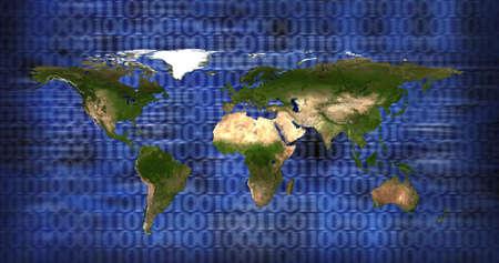 close up shot of world map on blue background photo