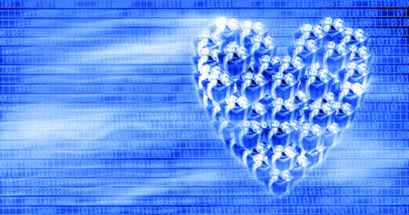 heart shaped gift box over binary code background photo