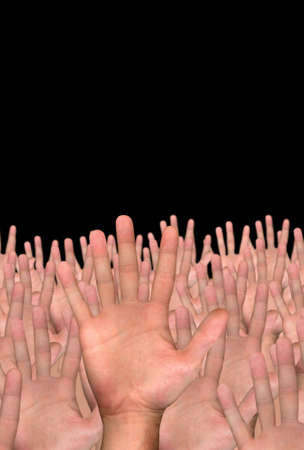 single hand in front of several hands on black background photo