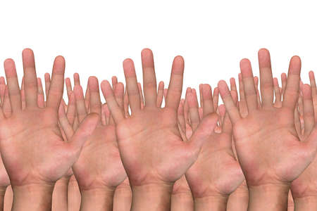 close up shot of several hands on white background photo