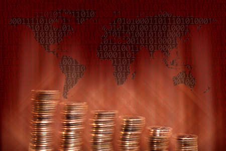 close up pile of American One Cents on world map Stock Photo - 3809613