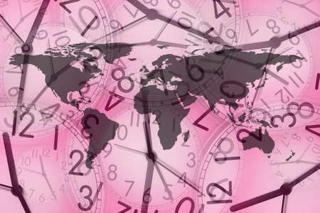 money cosmos: close up shot of world map in several clocks