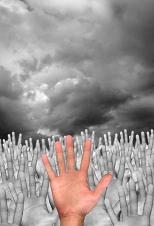 single hand in front of several hands on cloudy background Stock Photo - 3809602