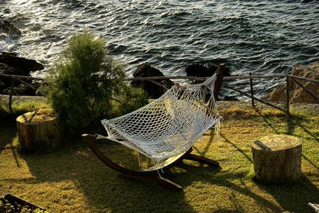 modern hammock on the green grass Stock Photo