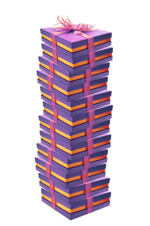 background image of purple giftboxes on white Stock Photo - 3973402