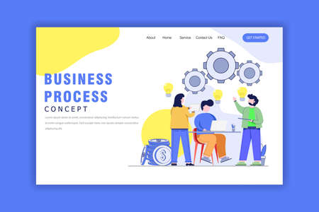 Flat Design Concept Of Business Process, sustainable development.Vector Illustration for Website, Landing Page and Business