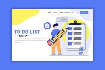Flat Design Concept of To Do List. Time Management, Planning and Strategy. Vector Illustration for Website, Presentation, Landing Page Illusztráció