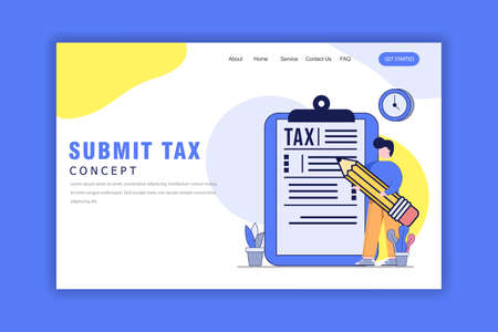 Flat Design Concept of Submit Tax Landing Page