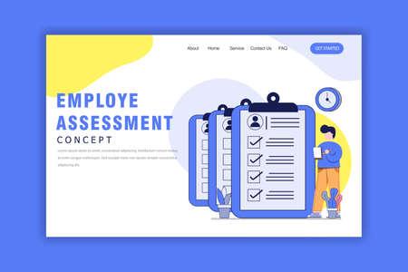 Flat Design Concept of Employe Assessment Landing Page