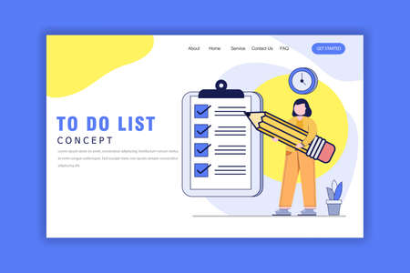 Flat Design Concept Of To Do List.Time Management, Planning and Strategy.Woman hold Big Pencil and Big Clip Board. Website, Landing Page
