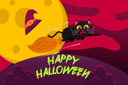 Happy Halloween Background with cute black cat scared riding broomstick. vector Illustration 向量圖像
