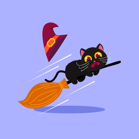 Vector Illustration for Halloween, cute black cat scared riding broomstick 向量圖像