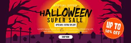 Halloween Event Super Sale Banner Discount Up To 50% Extra 10% With Big Moon and Grave Background Flat Design Illustration Ilustração