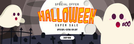 Halloween Event Super Sale Banner Discount Up To 50% Extra 10% With Big Moon Grave and Ghost Background Flat Design Illustration