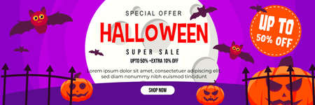 Halloween Event Super Sale Banner Discount Up To 50% Extra 10% With Big Moon, Cute Bat and Jack O Lantern Pumpkin Background Flat Design Illustration