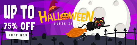 Happy Halloween Promo Sale Banner with Cute Black Cat scary riding Broomstick. can use for Poster, Banner, Special Offer, Discount